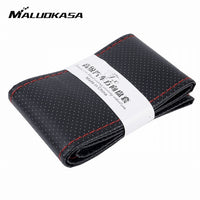 MALUOKASA 36/38/40CM Car Steering Cover DIY Steering Wheel Covers Soft Leather Braid Design With Needle and Thread Interior Kits