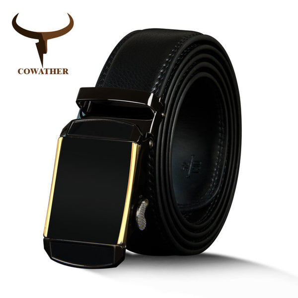 COWATHER vintage cowhide genuine leather belts for men cow leather male strap automatic buckle men's belt fashion buckle strap