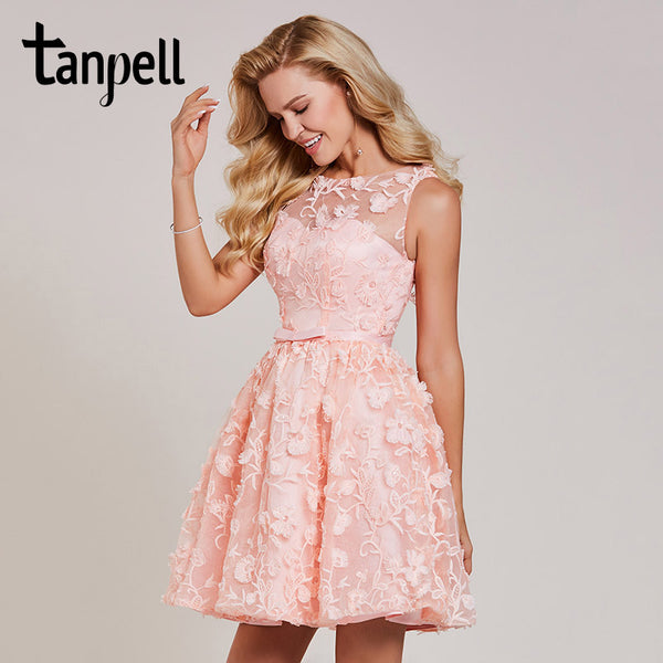 e0b1767750 Tanpell short homecoming dress pink lace scoop sleeveless above knee a line  gown women embroidery cocktail