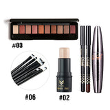 Cocute Makeup Tool Kit 4 PCS Including Makeup Brushes Eyeshadow Eyebrow Pen Mascara and Highlighter Shimmer Stick for girl gift