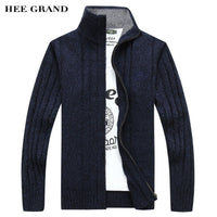 Men's Fashion Style Sweter For Autumn 2018 Hot Sale Full Sleeve Stand Collar Zipper Cardigan High Quality Solid Color MWK128