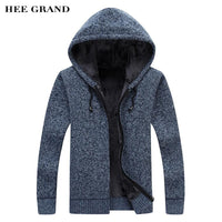 HEE GRAND 2018 New Arrival Men Casual Sweater Thick Warm Autumn Winter Male Zipper Cardigan Masculino Plus Size M-3XL MZM544