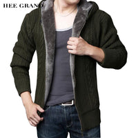 HEE GRAND Men Casual Sweater 2018 New Arrival Thick Warm Autumn Winter Male Zipper Cardigan Masculino Plus Size S-3XL MZM546