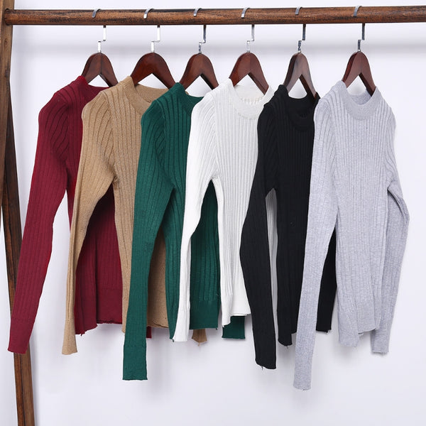 Spring Fashion Women Threaded Knit Sweater Basic Long Sleeve Round Neck Pullover Tops Jumper pull femme New