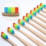 8 PCS Colorful Bamboo Toothbrush Novelty Rainbow Wood Teeth Brush soft-bristle Bamboo Fibre Wooden Handle