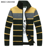 HEE GRAND Men's Fashion Style Sweater Cardigan 2018 New Arrival Full Sleeve Striped Stand Collar Autumn Overcoat MWK127