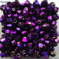 Isywaka Sale Red copper Color 100pcs 4mm Bicone Austria Crystal Beads charm Glass Bead Loose Spacer Bead for DIY Jewelry Making