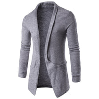 2018 Mens Fashion Autumn Winter Long Sleeves Lapel Neck Sweater Coat Long-Length Cardigan Coffee White Grey Black Outwear