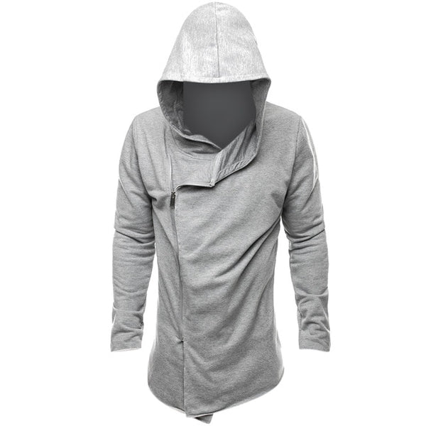 2018 Men Youth Casual Hip Hop Hoodie Fashion Zipper Hooded Sweatshirts Gothic Style Irregular Hem Streetwear Black Grey