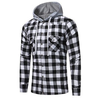 2018 Autumn Men Plaid Check Hooded Shirt Blouse Buttons Long Sleeve Casual Slim Fit Hoodies Blusas Tops Sweatshirt Sportswear