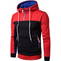 2018 Autumn Winter Fashion Color Stitching Hoodies Casual Sportswear Full Zip Up Neck Hooded Sweatshirt Pullover Hoody Coat 3XL
