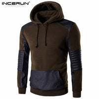 2018 Autumn Spring Hooded Sweatshirt Men Hoodie Pullover Casual Hip hop Leather Patchwork Sportswear Men Cotton Hoody Jackets