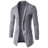 2018 Mens Fashion Autumn Winter Jacket Long Sleeves Lapel Neck Sweater Coat Long Cardigan Solid Outwear Coat Jackets Male Top