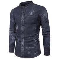 2018 Autumn Mens Denim Shirts Decorative Pockets Blue Color Brand Clothing Man's Long Sleeve Slim Fit Male Cotton Jeans Shirt