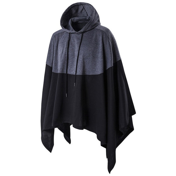 2018 Autumn Winter Men Magician Party Wear Hoodie Color Stitching Hooded Sweatshirt Irregular Casual Male Poncho Cloak Cape Coat