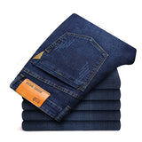 2018 New Men Jeans Business Casual Straight Slim Fit Blue Jeans Stretch Denim Pants Trousers Young Man Jeans Plus Size D50