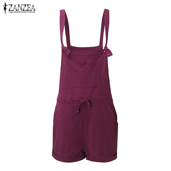 Hot Sale 2018 ZANZEA Rompers Womens Jumpsuit Summer Sexy Strap Overalls Casual Pockets Loose Short Playsuits Plus Size