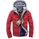 2018 Winter Fashion Casual Jacket Men Thicken Warm Candy Color Splicing Cotton Padded Puffer Coats Parkas Hooded