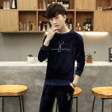 2018 Autumn Simplicity Style Loose Casual Men's Pajama Sets O-Neck Coral Fleece Home Clothes Solid  Male Pullover Plus M-3XL New