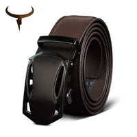 COWATHER Top Cow Genuine Leather Belts For Men High Quality Metal Automatic Buckle Men's Belt Black Luxury Male Cowhide Strap