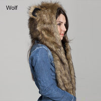 Faux Fur Hood Animal Hat Ear Flaps Hand Pockets 3in1 Animal Hood Hat Wolf Plush 2018 Winter Warm Animal Cap With Scarf Gloves