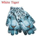 1Pair Fashion Women Men Animals Fruits Scenery 3D Print Crochet Knitted Gloves Mittens for Phone Screen Mittens Warm Accessories