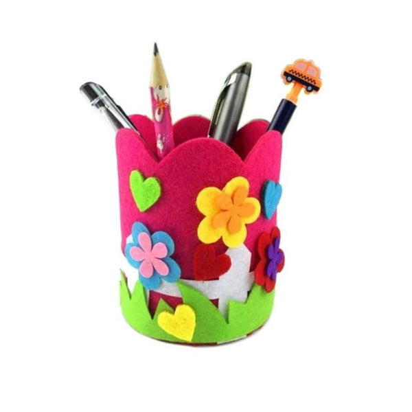 Children DIY Pen Holder Cute Handmade Craft Polyester Cloth Baby Toys Pencil Stationery Holder Office Desk Organizer Accessories