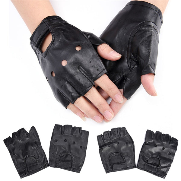 1 Pair Women Fashion PU Leather Half Finger Driving Gloves Fingerless Gloves For Women Black Color Wholesale