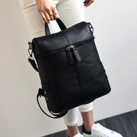 Simple Style Backpack Women PU Leather Backpacks For Teenage Girls School Bags Fashion Vintage Solid Black Shoulder Bag XA568H