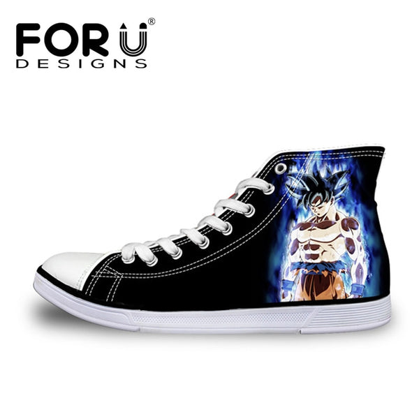 FORUDESIGNS Anime Dragon Ball Z Print High Top Men Vulcanized Shoes Cool Super Saiyan Son Goku Casual Canvas Shoes for Men Boys