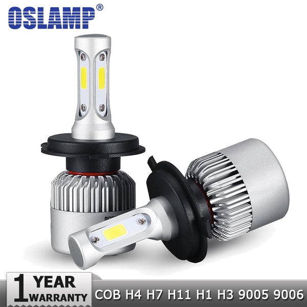 Oslamp H4 H7 H11 H1 H3 9005 9006 COB Car LED Headlight Bulbs Hi-Lo Beam 72W 8000LM 6500K Auto Headlamp Led Light Bulb DC12v 24v