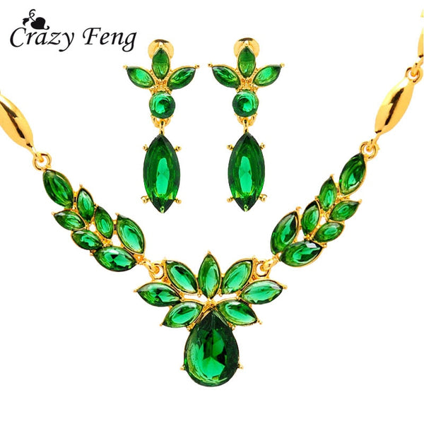 Trendy New Women's  Yellow Zinc Alloy 3 colors CZ  flower Necklace + Earrings Wedding Jewelry Sets Gift Free shipping