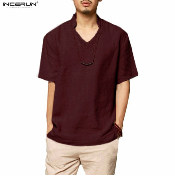 Fashion Chinese Shirt Men Short Sleeve Loose Cotton Linen Shirts Men Solid Color Stand-neck camisa masculina 2018 Men Clothes