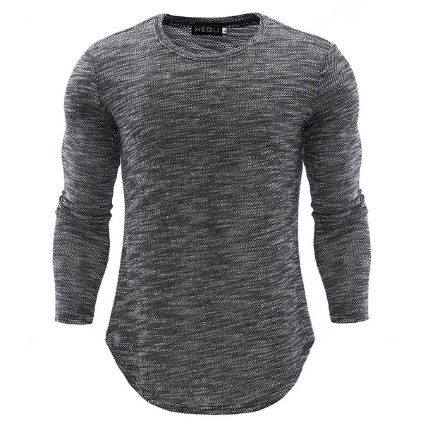 Men Gradient t shirt O neck Long Sleeve Top Tees Slim Fit 2018 Spring Autumn New Cotton T Shirt Men Solid Color Tshirt Collar