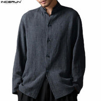 Chinese Style Stand Collar Long Sleeve Linen Shirt Men Casual Soft Cotton Linen Shirts Men Vintage Tee Tops camisa masculina 5XL