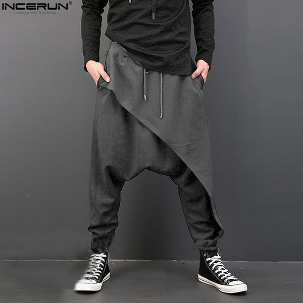 2018 Brand Cool Mens Gothic Punk Style Harem Pants Black Hip Hop Wear Loose  Pants DrawString Baggy Dancing Crotch Trousers