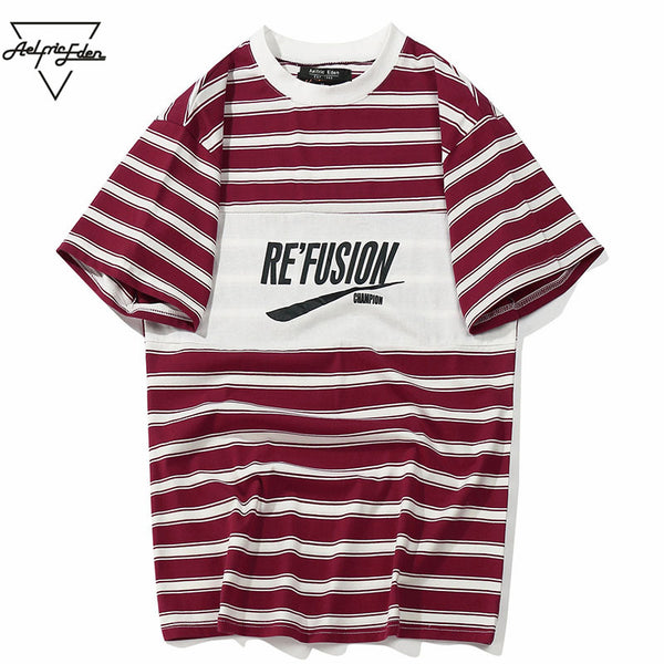 Aelfric Eden Color Block Letter Printed Striped Short Sleeve Men T Shirts Hip Hop Casual Cotton Streetwear Fashion T-shirt As102