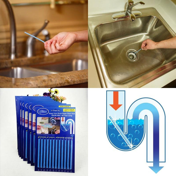 12Pcs/set Sticks sewage decontamination to deodorant The kitchen toilet bathtub drain cleaner sewer cleaning rod 8z