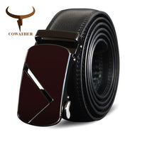 COWATHER Vintage Top Cow Genuine Leather Men Belts Male Automatic High Quality Buckle Strap Male Belts Fashion Cowhide Men Belt