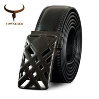 COWATHER men belt cow genuine leather male strap top quality automatic buckle belts for men fashion black brown business straps