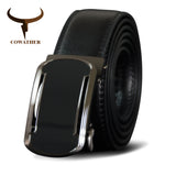 COWATHER High Quality Cow Genuine Leather Men Belt Metal Automatic Buckle Cowhide Leather Belt For Men Black Brown Male Strap