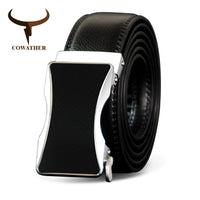COWATHER Top Quality Cowhide Belts Automatic Buckle Cow Genuine Leather Men Belt Cow Leather Male Strap Fashion Buckle Straps