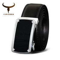 COWATHER Top Quality Cow Genuine Leather Men Belt Cowhide Belts For Men Metal Automatic Buckle Male Strap Black Brown Straps