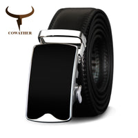 COWATHER Metal Buckle Cow Genuine Leather Men Belt High Quality Automatic Buckle Cowhide Belts Vintage Male Strap Fashion Straps