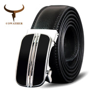 COWATHER Cowhide Leather Belt For Men Metal Automatic Buckle Cow Genuine Leather Men Belt Newest Fashion Business Male Strap