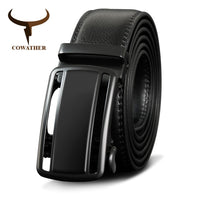 COWATHER Automatic Buckle Cow Genuine Leather Men Belt High Quality Cowhide Belts For Men Leather Male Strap Fashion Straps
