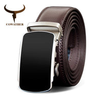 COWATHER Men Belt Cow Genuine Leather Male Strap Metal Automatic Buckle Belts For Men Cowhide Leather Strap Fashion Style Buckle