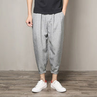 2018 Harem Pants Men Casual Hip Hop Streetwear Linen Pants Mens Joggers Trousers Loose Plus Size 5XL Men's Pants Black Gray