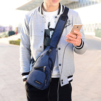 Usb Outdoor Sports Casual Canvas Unbalance Backpack Crossbody Sling Shoulder Bag