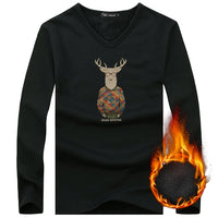 Men Long Sleeve Undershirts Mans Christmas Deer Printed Cotton Undershirt Underwear Clothing Relax Breathable Strench Undershirt